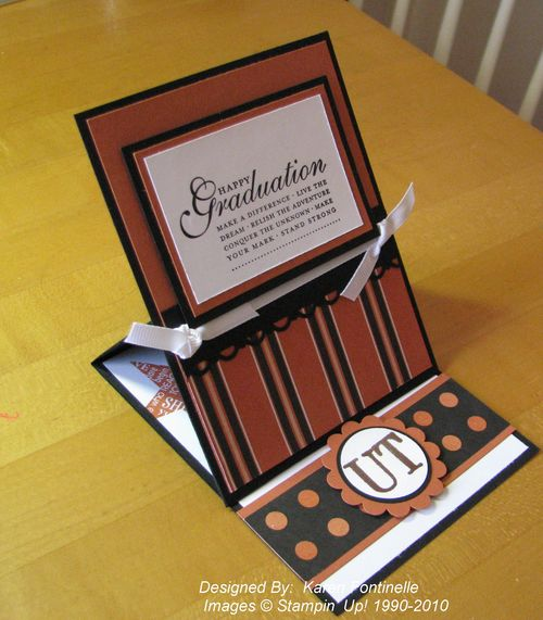 UT graduation easel card