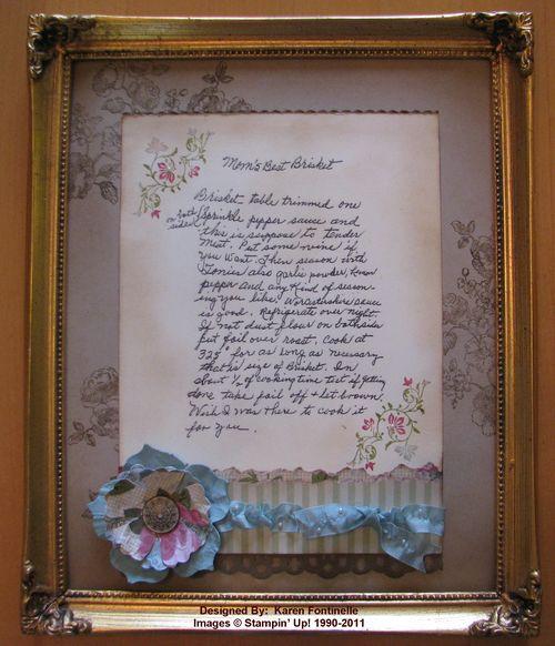 Framed Vintage Recipe