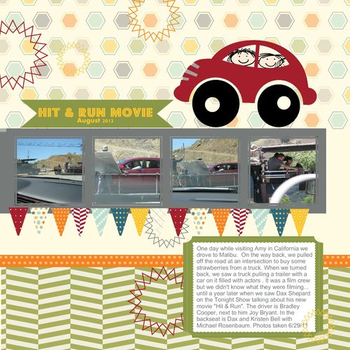 Hit and Run Movie Digital Scrapbook Page with My Digital Studio