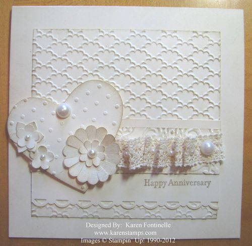 Very Vanilla Vintage Anniversary Embossed Card