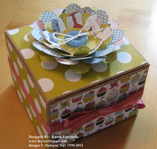 Stampin' Up! Kraft Gift Box Decorated with Patio Party Paper