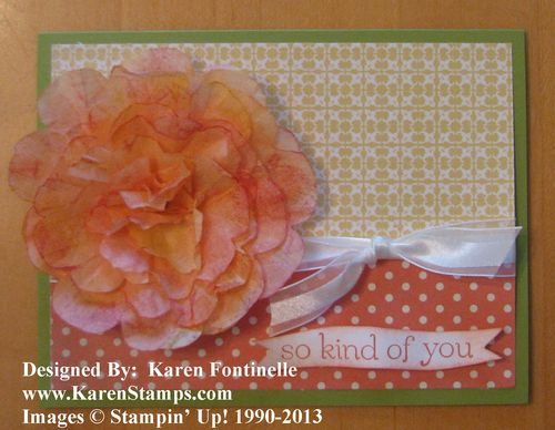 Stampin' Up! Creped Paper Flower Card