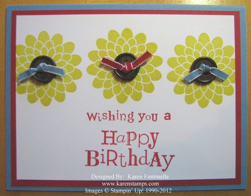 Button Buddies Summer Starfruit Flower Birthday Card
