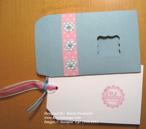 Scallop Envelope Baby Gift Card Opened