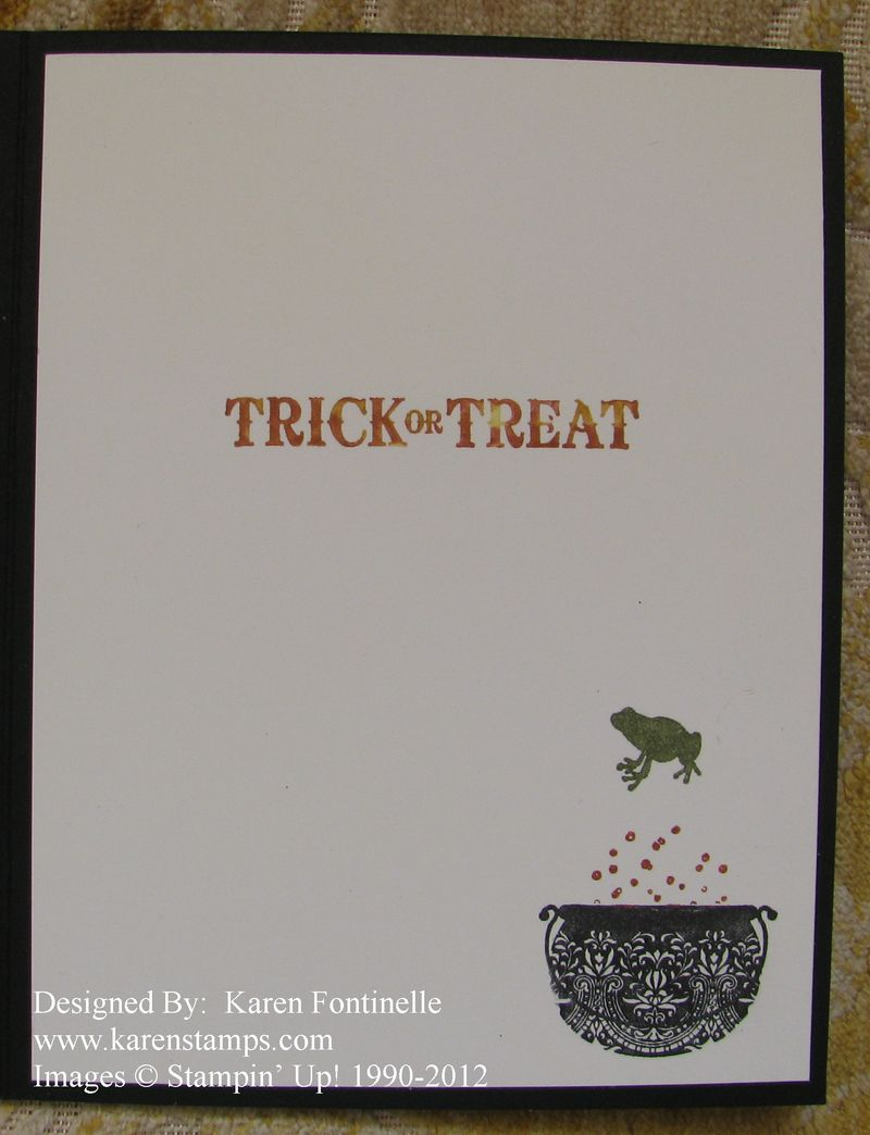 Toxic Treat Halloween Card with Champagne Glimmer Paper _Inside